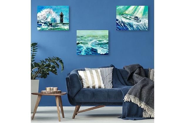 Gale Force Waves 11x14 Metal Wall Art Print Set, Multi, large