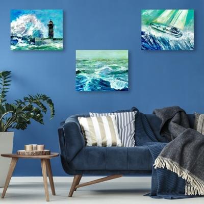 Gale Force Waves 20x24 Metal Wall Art Print Set, Multi, large
