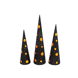 Assorted Black And Orange Glitter Halloween Cone Trees (set Of 3), , rollover