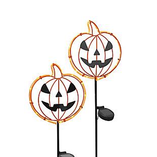 Metal Halloween Pumpkin Face Yard Stake (set Of 2), , rollover