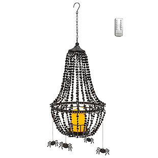 Black Acrylic Crystal And Metal Chandelier With 6 Spiders (led Candle And Remote), , large