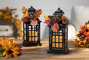 Black Metal Lanterns With Led Candles (set Of 2), , rollover