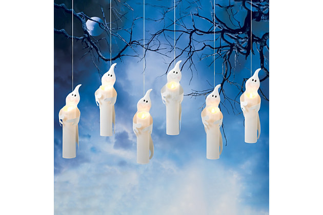 Battery Operated Hanging Candles Wrapped in Ghosts (Set of 6), , large