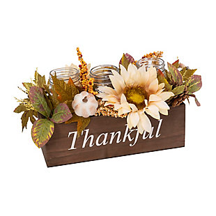 Fall Wood Box With Florals And 3 Candle Jars, , large