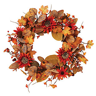 """22""""D Harvest Wreath With Leaves, Berries And Orange Sunflower Accents, , rollover"""