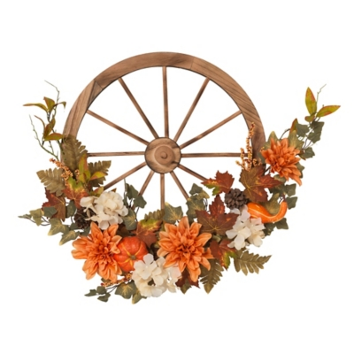 27-inch Fir Wood Wagon Wheel With Harvest Accents, , large