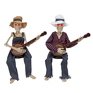 """38"""" Animated with Sound Skeletons Playing Banjoes (Set of 2), , rollover"""