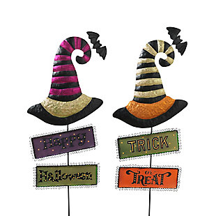 """37"""" Metal Witch Hats with Halloween Signs Yard Stake (Set of 2), , large"""