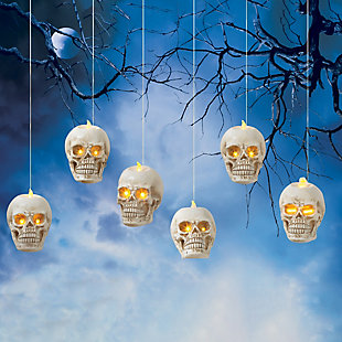 Battery Operated Hanging Skulls (Set of 6), , rollover