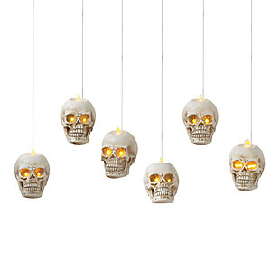 Battery Operated Hanging Skulls (Set of 6), , large