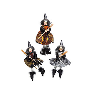 """16"""" Fabric Sitting Witch Figurines (set Of 3), , rollover"""