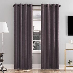 Sun Zero  Tresello Tonal Texture Draft Shield Fleece Insulated 100% Blackout Curtain Panel, Fig, rollover