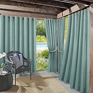 Sun Zero  Sailor Indoor/Outdoor UV Protectant Room Darkening Curtain Panel, Soft Teal, large