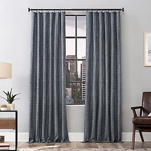 Scott Living  Delton Stonewashed Cotton Semi-Sheer Curtain Panel, Denim Blue, large