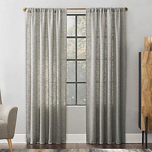 Scott Living  Wallis Crosshatch Slub Textured Linen Blend Sheer Curtain Panel, Mocha, rollover