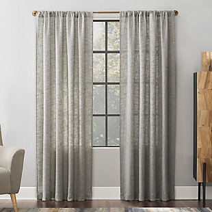 Scott Living  Wallis Crosshatch Slub Textured Linen Blend Sheer Curtain Panel, Mocha, large