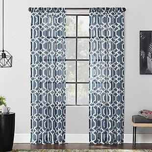 Scott Living  Sloane Linen Blend Sheer Curtain Panel, Blue, rollover