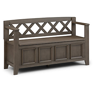 Simpli Home Amherst Entryway Storage Bench, Farmhouse Gray, large
