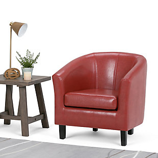 Simpli Home Austin Tub Chair in Faux Leather, Red, rollover