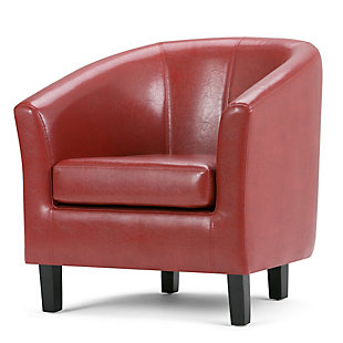 Simpli Home Austin Tub Chair in Faux Leather, Red, large