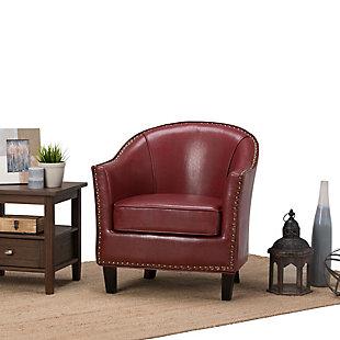 Simpli Home Kildare Tub Chair in Radicchio Bonded Leather, , rollover