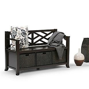 Simpli Home Adrien Storage Bench with Basket Storage, , rollover