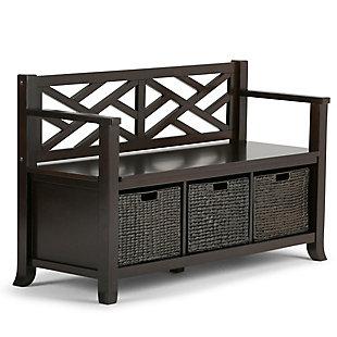 Simpli Home Adrien Storage Bench with Basket Storage, , large