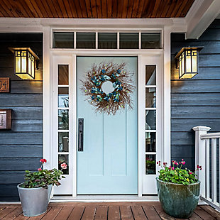 National Tree Company Spring Blueberry Wreath, Blue, rollover