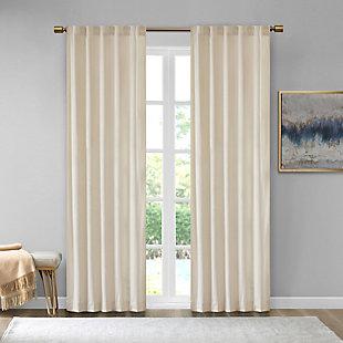 510 Design Colt Velvet Room Darkening Rod Pocket/Back Tab Window Panel Pair, Ivory, large