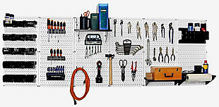Wall Control 8' Pegboard Master Workbench Kit, White/Black, rollover