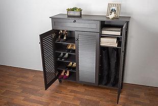 Baxton Studio Pocillo Wood Shoe Storage Cabinet, , rollover
