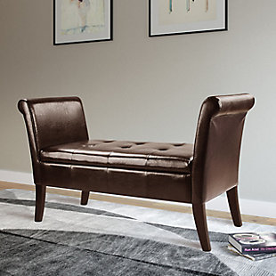 CorLiving Antonio Scrolled Leather Storage Bench, Brown, rollover