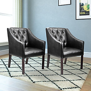 CorLiving Antonio Leather Club Chair (Set of 2), Black, rollover