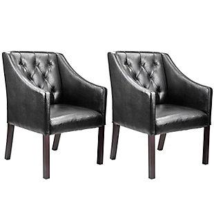 CorLiving Antonio Leather Club Chair (Set of 2), Black, large