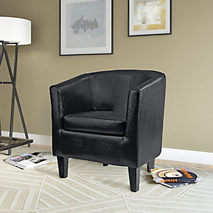 CorLiving Antonio Tub Chair in Bonded Leather, Black, rollover