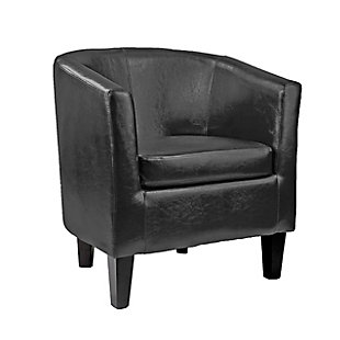 CorLiving Antonio Tub Chair in Bonded Leather, Black, large
