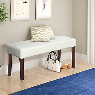 CorLiving Fresno Bench in Leatherette, White, rollover
