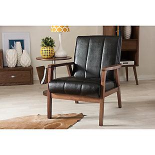 Baxton Studio Nikko Lounge Chair, Black, rollover