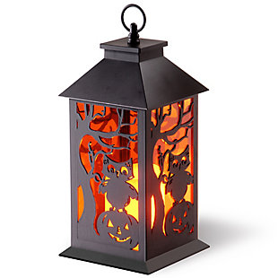 "12"" LED Owl and Pumpkin Lantern, , large"
