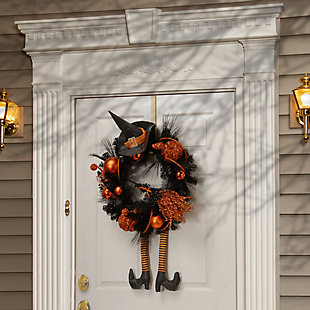 """24"""" Halloween Witch Wreath with Hat and Legs, , rollover"""