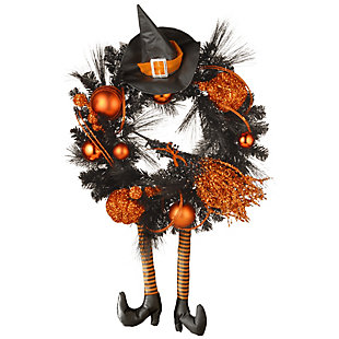 """24"""" Halloween Witch Wreath with Hat and Legs, , large"""