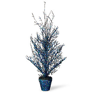 """26"""" Black Tree with Blue Glitter, , large"""