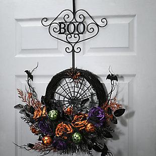 """17"""" Black Halloween """"Beware"""" Wreath Hanger, , rollover"""