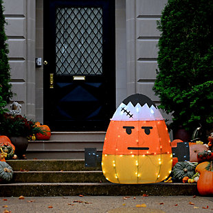 """24"""" Pre-Lit Candy Corn Frankenstein with 80 LED Lights, , rollover"""