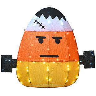 "24"" Pre-Lit Candy Corn Frankenstein with 80 LED Lights, , large"
