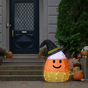"""35"""" Pre-Lit Candy Corn Witch with 80 LED Lights, , rollover"""