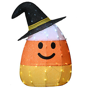 """35"""" Pre-Lit Candy Corn Witch with 80 LED Lights, , large"""