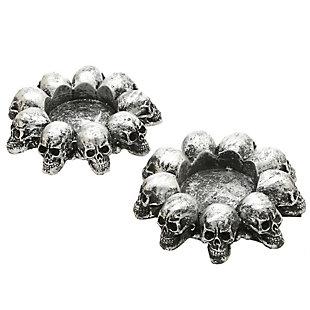"4"" Silver Skull Candleholder Decor, , large"