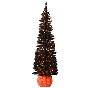 6 ft. Black Halloween Half Tree with 200 Orange Lights, , large