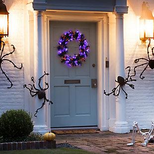 "24"" Black Fiber Optic Wreath with Purple and Orange Lights, , rollover"
